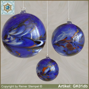 Glass ball as glass decoration, exklusive, unique GK01db