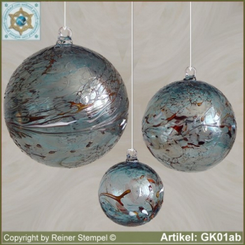 Glass ball as glass decoration, exklusive, unique GK01aqb