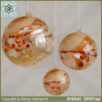 Glass ball as glass decoration, exklusive, unique GK01ap
