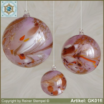 Glass ball as glass decoration, exklusive, unique GK01fl