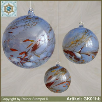 Glass ball as glass decoration, exklusive, unique GK01hb