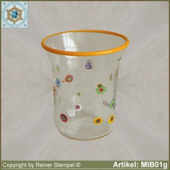 Glass beaker by millefiori design MIB01g
