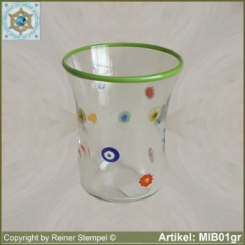 Glass beaker by millefiori design MIB01gr
