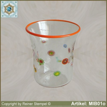 Glass beaker by millefiori design MIB01o