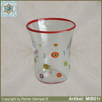 Glass beaker by millefiori design MIB01r