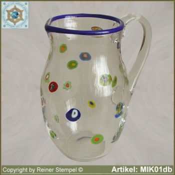 Glass pitcher by millefiori design MIK01db