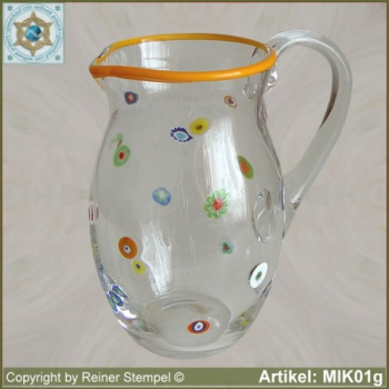 Glass pitcher by millefiori design