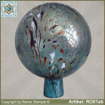 Roses ball, garden ball made of glass RO01aqb