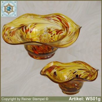 Glass bowl decorative in color and shape