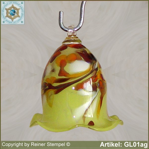 Glass bell, very decorative in color and shape GL01ag.