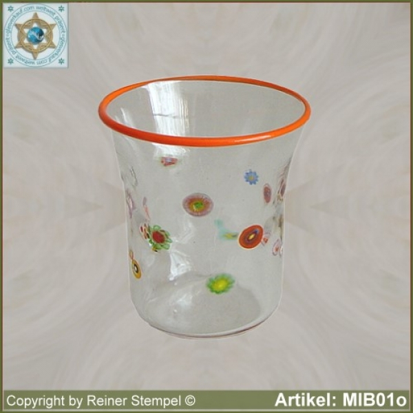 Glasbecher in Millefiori Design