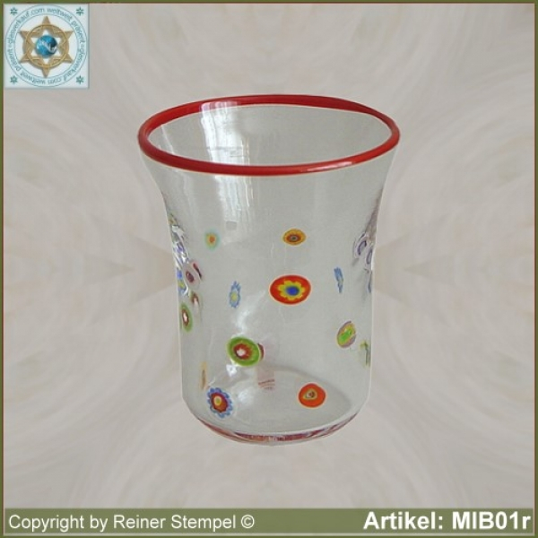 Glass beaker by millefiori design